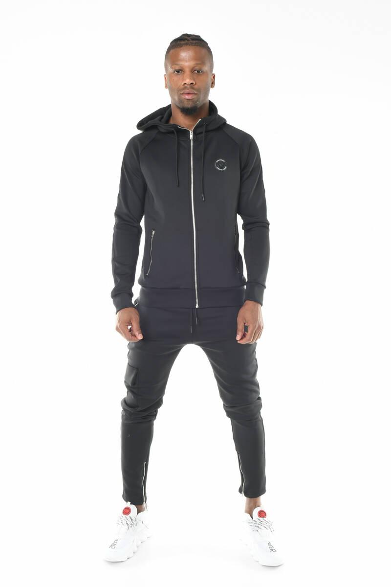 DAVID&GERENZO - Siyah Scuba Dalgıç Kumaş Kapüşonlu Şerit Detaylı Eşofman Takımı