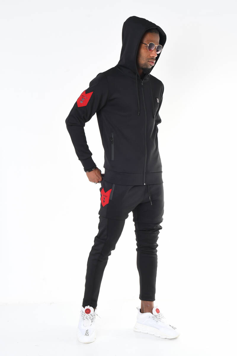 Siyah Scuba Dalgıç Kumaş Logo Aksesuarlı Eşofman Takımı