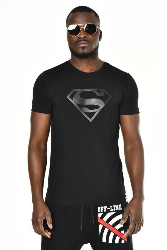 DAVID&GERENZO - Siyah Superman Baskı Bisiklet Yaka T-shirt