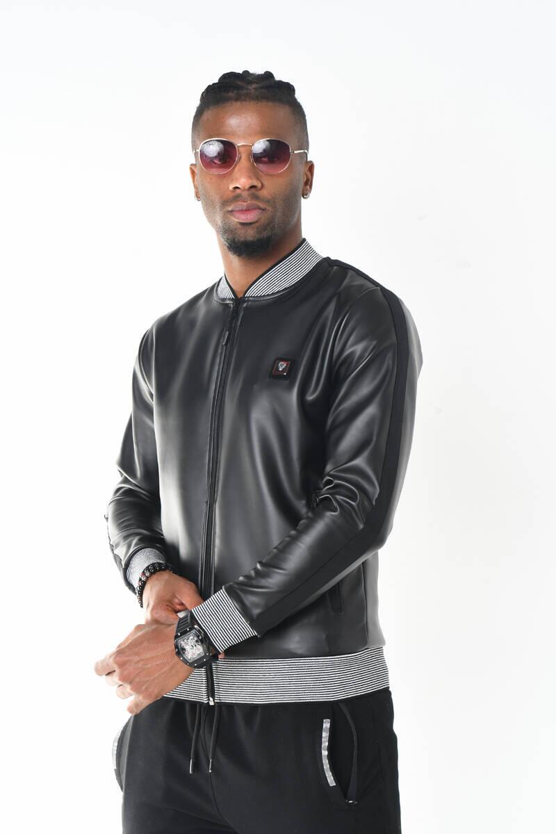 DAVID&GERENZO - Siyah Triko Yaka Deri Görünümlü Fermuarlı Ceket