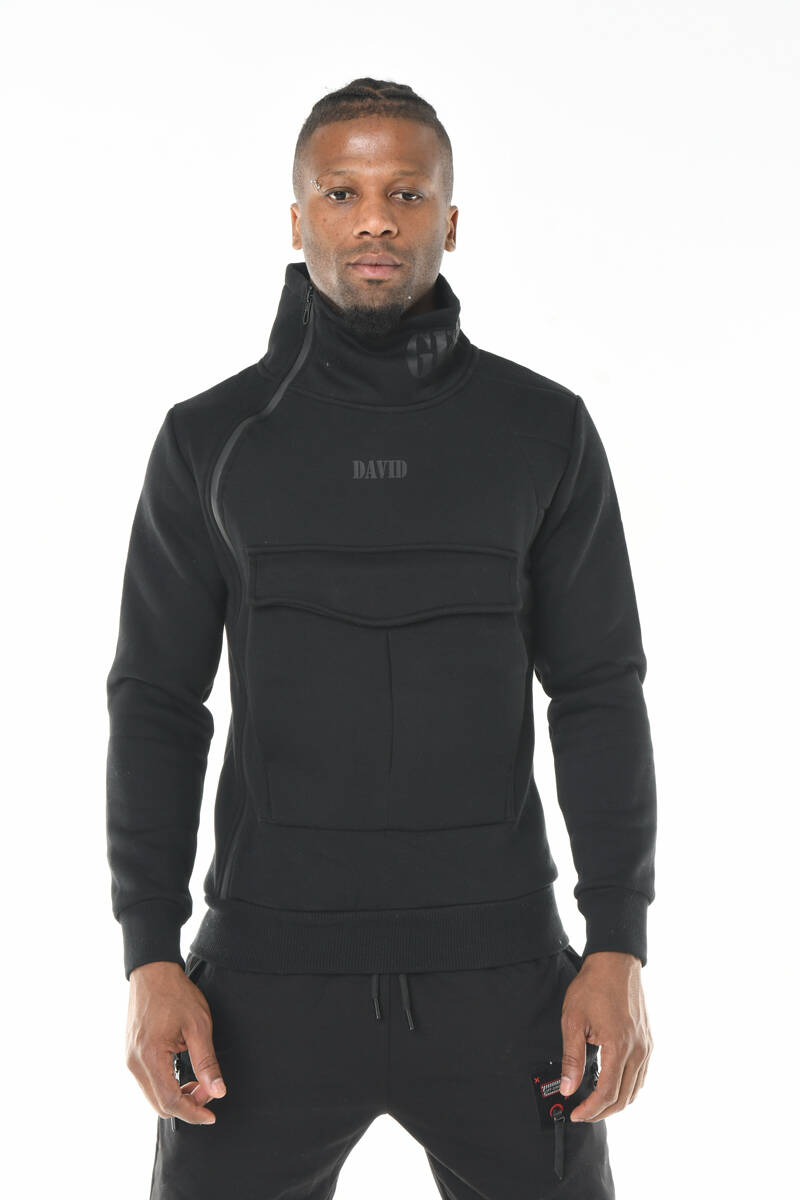 DAVID&GERENZO - Siyah Yaka Detaylı Kanguru Cep Üç İplik Sweatshirt