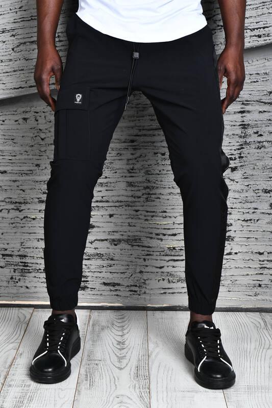 DAVID&GERENZO - Siyah Yan Fermuar Aksesuarlı Kargo Cepli Pantolon