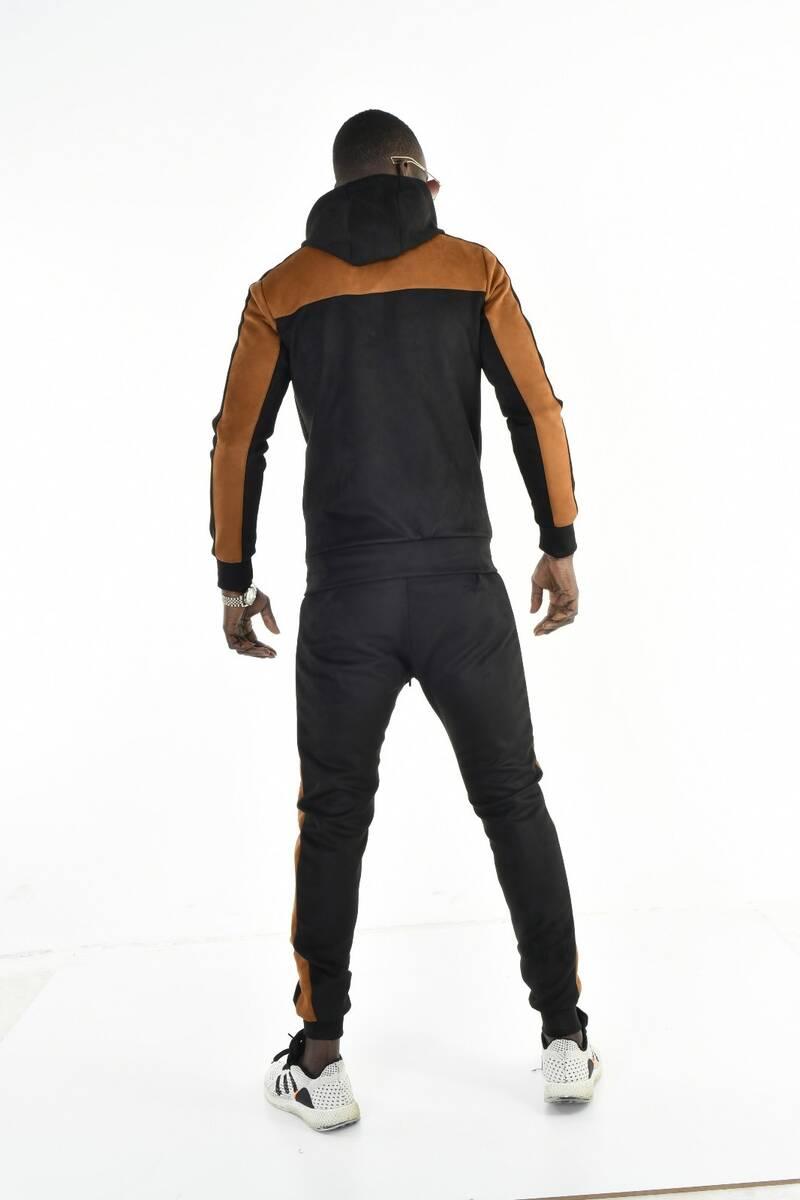 Süet Kumaş Kapüşonlu Taba Siyah Renk Geçişli Eşofman Takımı
