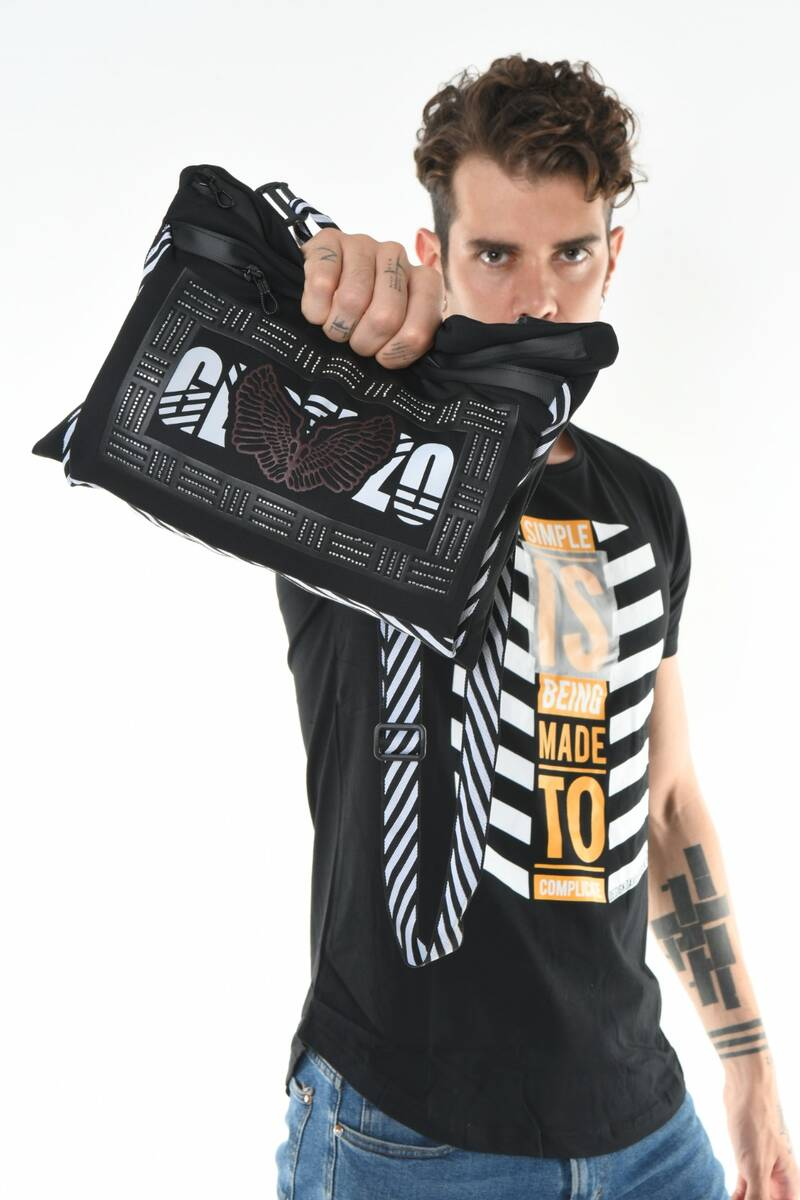 DAVID&GERENZO - Taş Aksesuarlı Gerenzo Logo Askılı Siyah Çanta