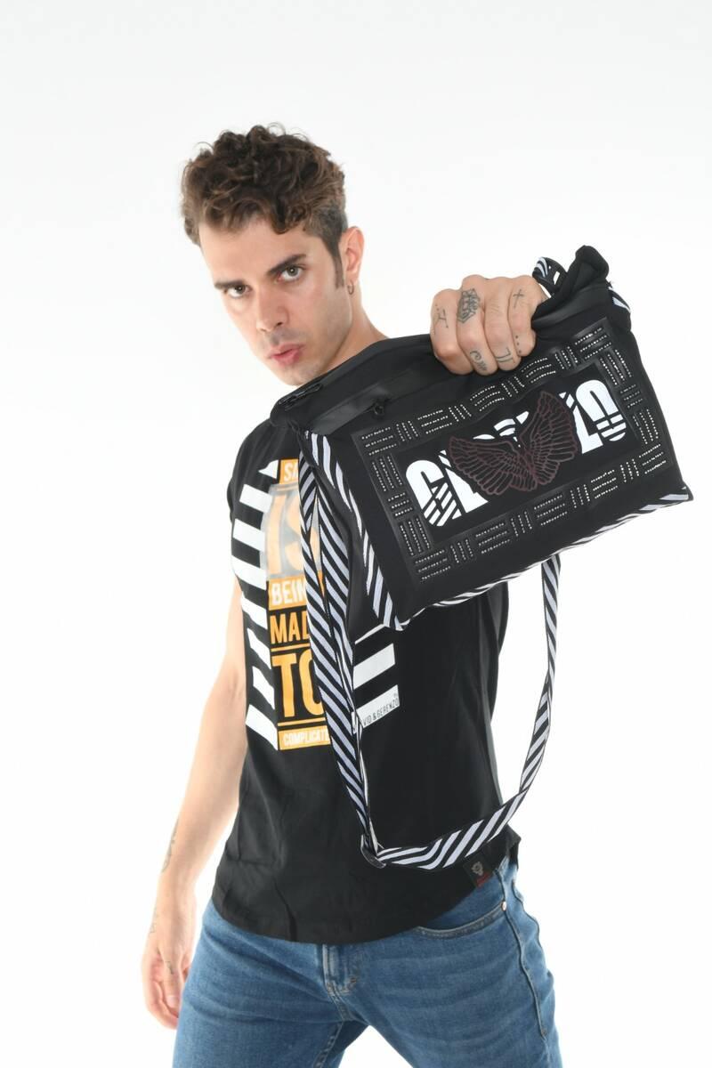Taş Aksesuarlı Gerenzo Logo Askılı Siyah Çanta