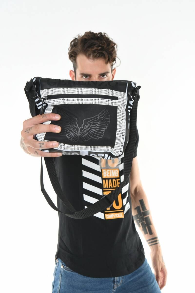 DAVID&GERENZO - Transparan Ön Cep Detay Ekose Desen Askılı Siyah Çanta