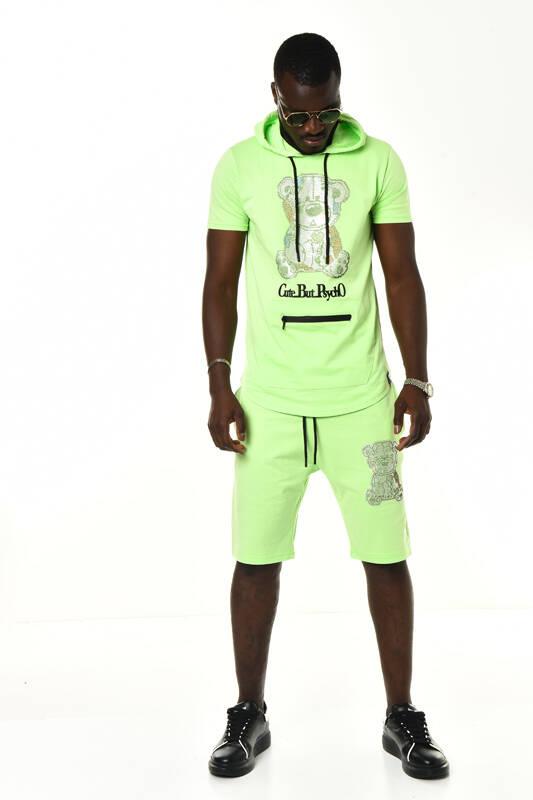 DAVID&GERENZO - Yeşil Ayılı Taş Aksesuarlı Kapüşonlu Şort T-shirt Takım